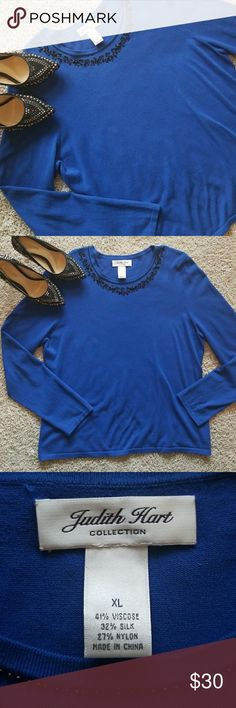 Blue Judith Hart Shirt Royal blue beaded shirt. 41% viscose 32% silk 27% nylon. One minor snag near belly butyon, pictured above.  Size XL Shoes listed separately. Bundle for a discount! Judith Hart Tops Blouses