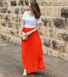 Tomato Chiffon Maxi Skirt