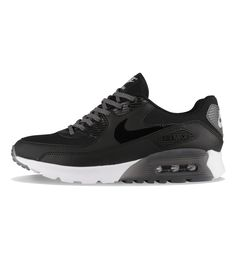 Nike WMNS Air Max 90 Ultra Essential Black / Black / Grey - Nike Womens The Nike Woman's Air Max 90 Ultra Essential Black has mesh and leather uppers, deep flex grooves in the outsole with translucent details.