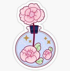 'Peony Witch Series - Potion Bottle ' Sticker by mahkala Stickers Cool, Stickers Kawaii, Anime Stickers, Printable Stickers, Planner Stickers, Arte Do Kawaii, Kawaii Art, Cute Cartoon Wallpapers, Animes Wallpapers