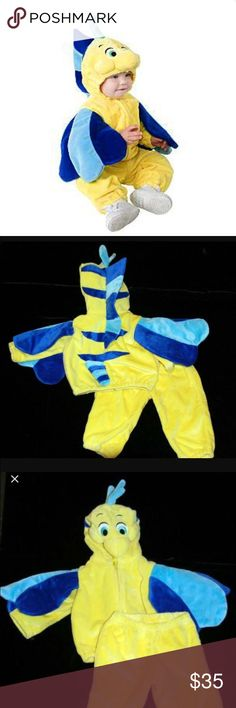 Authentic Disney Store flounder costume 6-12 M Adorable the little mermaid infant flounder costume from Disney store in excellent condition. Size 6-12 months. Disney Costumes Halloween