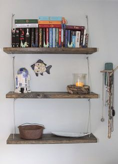 Love how these shelves are hung and could be made from repurposed wood.  Natural Stained Wooden Cable Shelves.  Although not sure theyd be good for Sams room, maybe I should move to Dans room ideas.