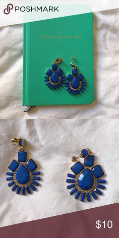 Blue statement earrings Gorgeous blue and gold statement earrings with faux diamond accents. Hardly worn. Jewelry Earrings