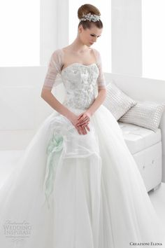 creazioni elena 2013 color wedding dresses strapless mint green ball gown