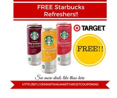Target Coupon Deal: FREE Starbucks Refreshers - http://www.couponsforyourfamily.com/target-coupon-deal-free-starbucks-refreshers/