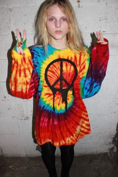 Melting Peace Tie Dye Oversized Sweater Dress / Grunge Peace Sign / Psychedelic One of a Kind / Rave Raver Clothing / Long Sleeve / Trippy. $68.00, via Etsy.
