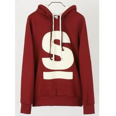 Men Fashion Long Sleeve Letter Printing Design Double Hoods Ropes Red... ($27) via Polyvore