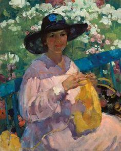 Martha Walter (American Impressionist, 1875–1976) Lady Knitting in a Garden