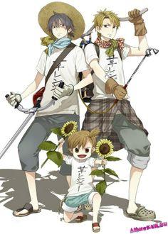 Barakamon ~~ Ready for battle... against garden pests! :: Seishuu Handa, Hiroshi Kido, and Naru