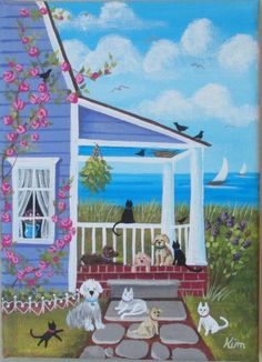 Porch Pals Folk Art Print por KimsCottageArt en Etsy