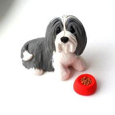 Bearded Collie chow tiempo escultura Mini de arcilla de polímero por Raquel theWRC perro coleccionables