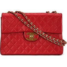 Chanel Vintage Maxi Single Flap Shoulder Bag ($6,499) ❤ liked on Polyvore featuring bags, handbags, shoulder bags, red, chain handbags, red purse, chanel purses, vintage shoulder bag and red handbags
