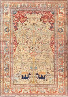 Antique Persian Mohtashem Kashan Carpet 47149 Detail/Large View