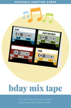 Remember the first (or the last) time someone gave you a mix tape? Nothing in today's world quite compares. So this is the perfect card for someone who's celebrated enough birthdays to know what a mix tape is! It's Your Birthday, Birthday Cards, Opening An Etsy Shop, Novelty Items, Holiday Traditions, How To Make Paper, Letter Size, Retro Design, Folded Cards