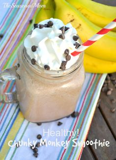 Chocolate, banana, peanut butter and plenty of vitamins and protein come together in this delicious and healthy Chunky Monkey Smoothie!