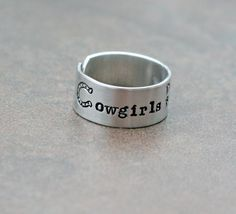 Cowgirl Ring  Hand Stamped Ring  Adjustable by YourSentimentsInc