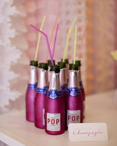 Mini champagne bottles for getting ready :)