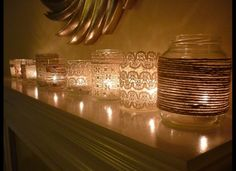 ld jars & lace-twine..save different size jars..go fabric store or even Walmart & lace scraps from discount bins..tealight candles...instant glow...