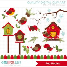 Red Robin / Cardinal Christmas Clip Art / Digital Clipart - Instant Download