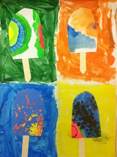 My Kindergartners are learning about different genres and styles of art and they recently made these absolutely ADORABLE Pop Art POPsicles! Kindergarten Art Lessons, Art Lessons Elementary, Pop Art, Art 2nd Grade, Second Grade, Classe D'art, Summer Art Projects, Arte Pop, Preschool Art