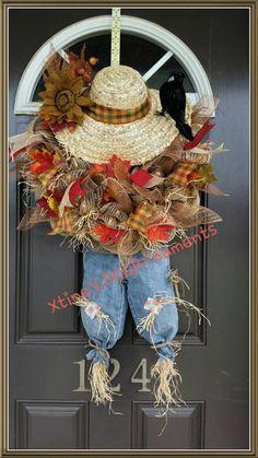 Fall Door Decor, New Listing, Scarecrow Wreath, Fall Wreath, Harvest Wreath… Thanksgiving Wreaths, Autumn Wreaths, Thanksgiving Decorations, Holiday Wreaths, Wreath Fall, Thanksgiving Ideas, Wreath Crafts, Diy Wreath, Wreath Ideas