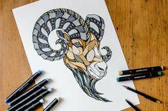 Ram Drawing by Andreas Preis // Animal Poker // www.designerpreis.com