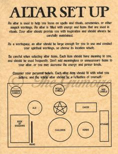 Altar Set Up Diagram & Tips, Book of Shadows Spell Page, Witchcraft, Wicca Altar
