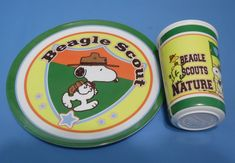 Snoopy Beagle Scout Kid's Plate & Tumbler Peanuts Woodstock 2007 Gibson