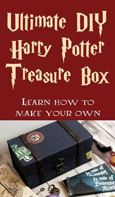 Ultimate DIY Harry Potter Treasure Box - Make your own! Tutorial includes instructions for box and projects to make and include inside! via potter diy gifts DIY Ultimate Harry Potter Treasure Box Harry Potter Halloween, Harry Potter Diy, Deco Noel Harry Potter, Harry Potter Navidad, Harry Potter Weihnachten, Harry Potter Classroom, Harry Potter Bedroom, Theme Harry Potter, Harry Potter Birthday