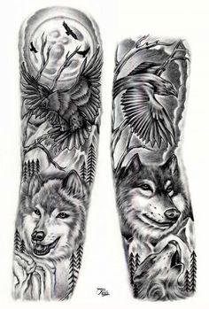 Wolf & raven full sleeve full arm tattoo tetoválásötletek, t Wolf Sleeve, Wolf Tattoo Sleeve, Full Sleeve Tattoo Design, Full Sleeve Tattoos, Arm Tattoos Wolf, Tribal Tattoos, Tattoos Geometric, Tattoo Wolf, Voll Arm-tattoos