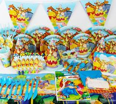 Kids Boy Girl Event Birthday Party Paper Tableware Plate Banner Napkins Hat Winnie the Pooh Toy Disposable Party Tableware Winnie The Pooh Themes, Winnie The Pooh Birthday, Baby First Birthday, Kids Party Decorations, Party Ideas, Halloween Toys, Birthday Party Favors, Birthday Ideas, Birthday Cake