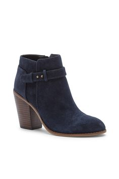 Suede booties with gorgeous buckle detailing//