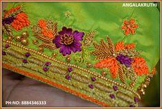 Zardosi Work Design, Zardosi Work Blouse, Maggam Work Designs, Hand Work Blouse Design, Simple Blouse Designs, Blouse Neck Designs, Simple Embroidery Designs, Hand Work Embroidery, Saris
