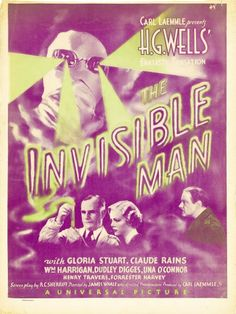 """via #IVPDA member Movie Art """"#ClaudeRains starred in this great @UniversalPics horror film.  Original U.S. window card, trimmed slightly.  https://www.movieart.com/invisible-man-the-1933-18961x/"""""""