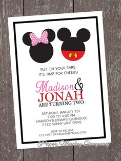 Mickey and Minnie Invitation Lovely Items Similar to Boy and Girl Mouse Birthday Invitation 1 00 Each with Envelope On Etsy Minnie Mouse Birthday Invitations, Mickey Party, Mickey Mouse Birthday, Combined Birthday Parties, Twin Birthday Parties, Birthday Ideas, Theme Parties, Birthday Celebration, Minnie Y Mickey Mouse