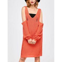 Distressed Cold Shoulder Sweater Dress