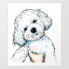 bichon+Art+Print+by+Cartoon+Your+Memories+-+$22.88
