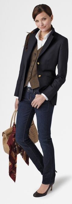 Could also dress up the look with a dark blazer for more professional occasions.