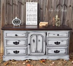 """""""I love this farmhouse buffet/dresser, refinished in General Finishes Seagull Gray Milk Paint with ebony glaze and distressed in my signature style!"""" - New Old Finds You can achieve this glaze look by also using GF's Pitch Black Glaze Effects."""