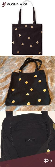 "Kate Spade Canvas Tote Black Gold Polka Dots Kate Spade Canvas Tote Black & Gold Polka Dots Measures approx 13"" long by 12"" wide   Bundle and save money 💰  Thanks for shopping my closet 😊 kate spade Bags Totes"