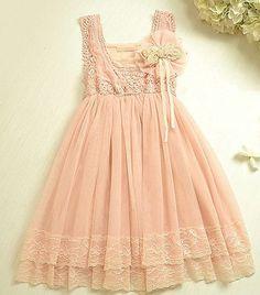 Vintage Pink Lace Girls Dress Flower Girl by itsBellaBootique, £35.00