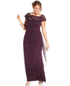 Xscape Plus Size Dress, Cap-Sleeve Lace Gown - Plus Size Dresses - Macy's