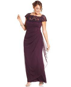 Xscape Plus Size Dress, Cap-Sleeve Lace Gown - Plus Size Dresses - Macy's in navy?????