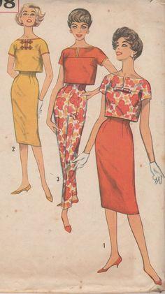 Simplicity 2998 Misses Skirt Top & Pants Pattern High Waist Slim Skirt Cigarette Pants Crop Top Womens Vintage Sewing Pattern Bust 34 Vintage Dress Patterns, Vintage Dresses, Vintage Outfits, 60s Patterns, Vogue Patterns, Vintage Clothing, 1960s Fashion, Vintage Fashion, Patron Vintage