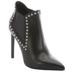 Saint Laurent Black leather studded chelsea ankle booties ($623) ❤ liked on Polyvore featuring shoes, boots, ankle booties, black, leather booties, black ankle booties, black high heel booties, leather boots and black high heel boots