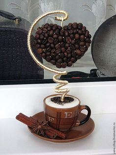 Whole Bean Coffee. Individuals who love coffee their very own choices while purchasing it. Some decide to buy grounded coffee although some others prefer Coffee Bean Art, Floating Tea Cup, Teacup Crafts, Coffee Heart, Coffee Crafts, Deco Floral, Topiary, Diy Art, Diy Gifts