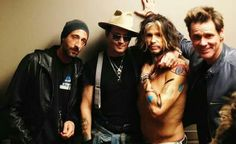 odd combo - Adrien Brody, Johnny Depp, Steven Tyler and Jim Carrey