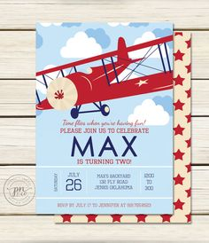Airplane Birthday Party Invitation Party invitations Airplanes
