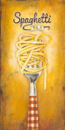 Art Print: Spaghetti Wall Art by Elisa Raimondi : Vintage Labels, Vintage Ads, Vintage Images, Vintage Signs, Decoupage Vintage, Decoupage Paper, Kitchen Posters, Kitchen Wall Art, Food Illustrations