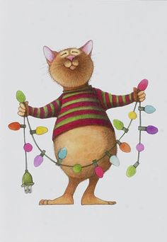 Linnea Riley Christmas lights and sweater cat. Find more for true #cat people at http://OzziCat.com.au - #Australia's cat #magazine